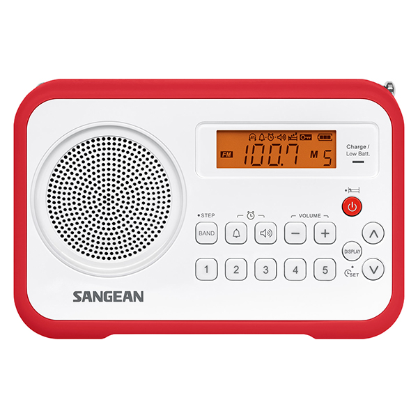 sangean pr d18rd fm stereo am digital tuning portable with alarm clock red ebay. Black Bedroom Furniture Sets. Home Design Ideas