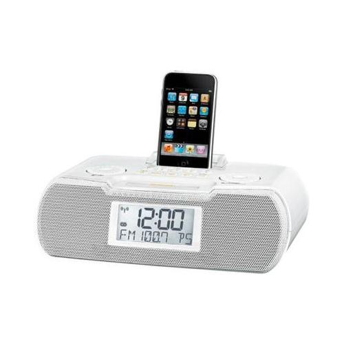 sangean rcr 10 fm am aux in digital tuning clock radio ipod dock white. Black Bedroom Furniture Sets. Home Design Ideas