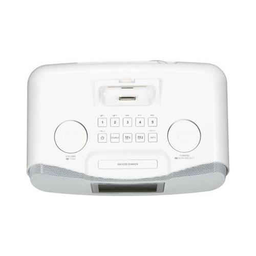 sangean rcr 10 fm am aux in digital tuning clock radio ipod dock white ebay. Black Bedroom Furniture Sets. Home Design Ideas
